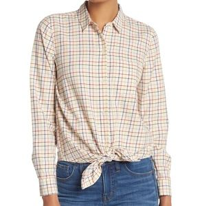 Madewell Rainbow Plaid Tie Front Shirt Size XS